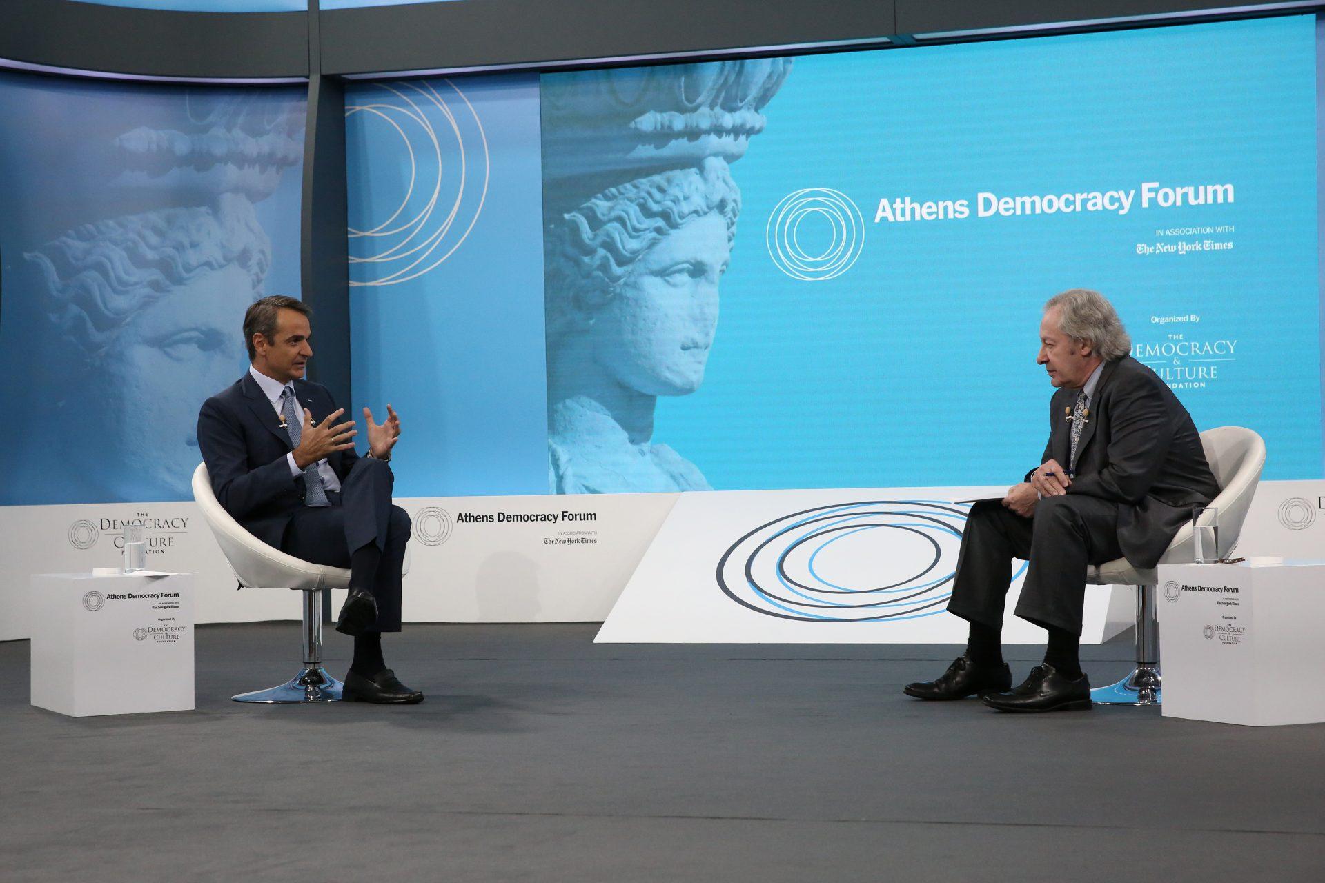 Μητσοτάκης στο Athens Democracy Forum: Υποχρέωση μου να υπερασπιστώ την πατρίδα-Δε θα μπούμε σε κούρσα εξοπλισμών με Τουρκία